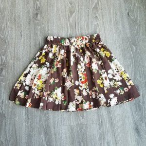 Princess Vera Wang Floral Skirt | Brown/Red | S